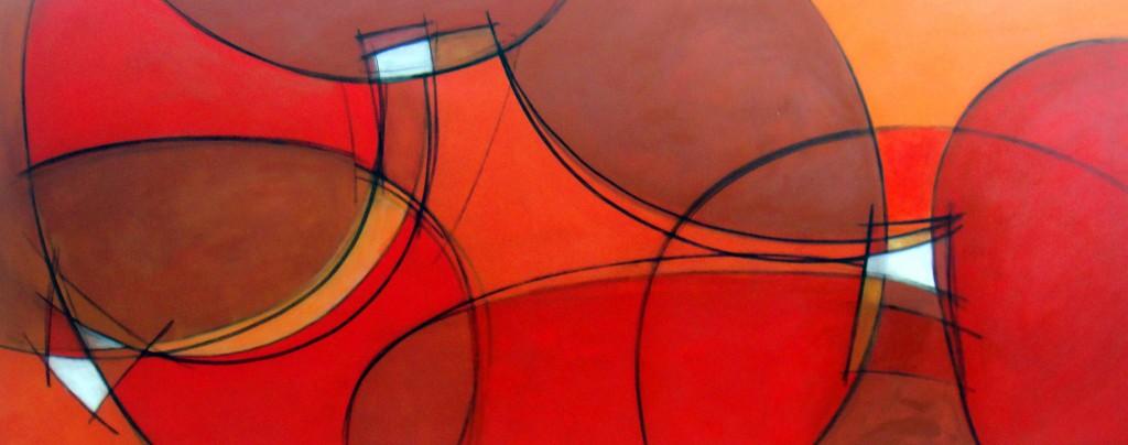 Liberdade em Tons Quentes - acrílico sobre tela - 80x192 cm por Fabiana Langaro Loos